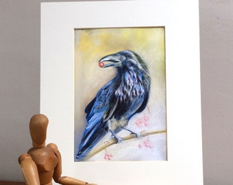 "Crow  Mounted Print,  10 x 12"", Wall Art, Fine Art Print, Country Print, Wildlife Art, Bird Print, Giclee Mounted Print"