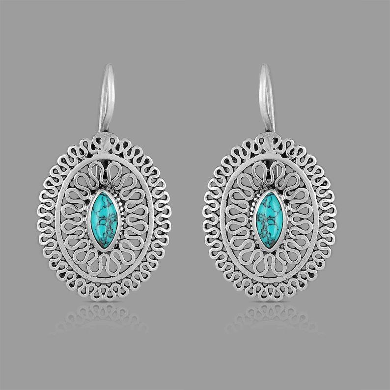 turquoise stone earring handmade Jewelry sterling silver earring gemstone earring