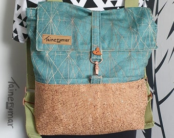 Backpack Rachel - Cork Backpack Women Green Glitter