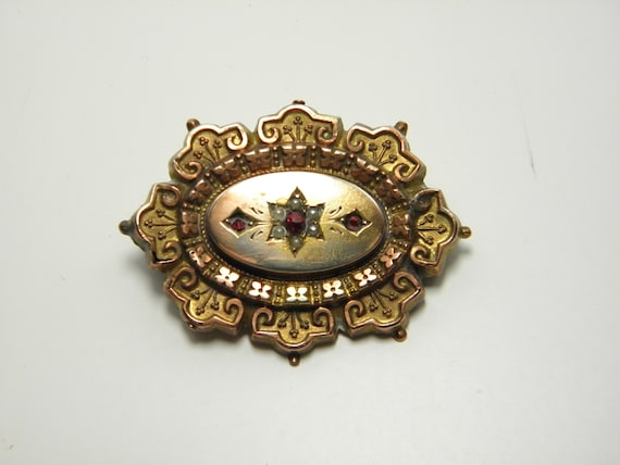 Victorian 9ct GOLD LOCKET BROOCH Seed Pearls /& Ruby 2.2g