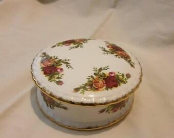 Old Vintage Embroidered Trinket Box