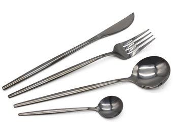 Luxury Black Stainless Steel Cutlery Sets Knife Fork Spoon Set