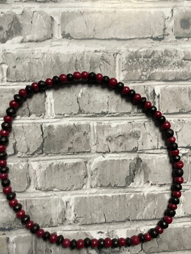 Gorgeous purple and black natural wooden beads delicately hand made elastic necklacechoker