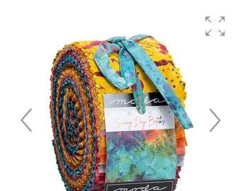 Sunny Day Batiks Jelly Roll from Moda 2.5 Inch wide by 44 inch strips
