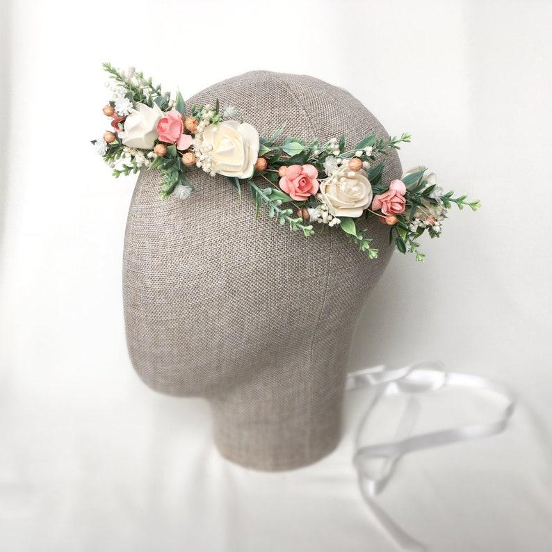 Pink /& White flower crown Bridal flower crown,Wedding Flower headpiece Flower crown Pink flower bridal crown Peach blush flower crown