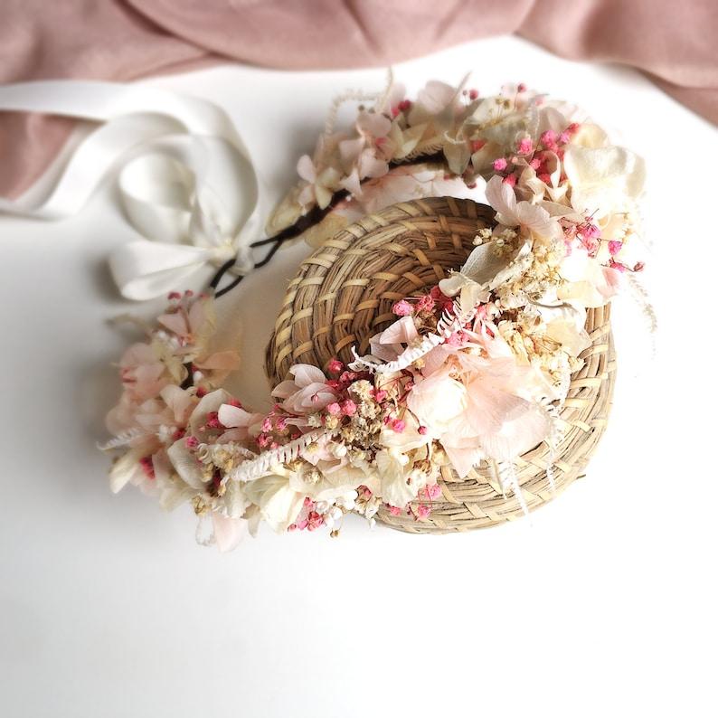 Wedding Floral headpiece Blush light pink Boho flower crown Bridal flower crown Flower crown Wedding crown pink flower bridal crown