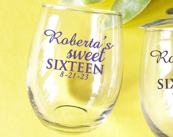 24+ Masquerade Mask Personalized Stemless Wine Glasses Sweet Sixteen Party Custom Stemless Wine Glass PWDSW48Y Quinceanera Celebration