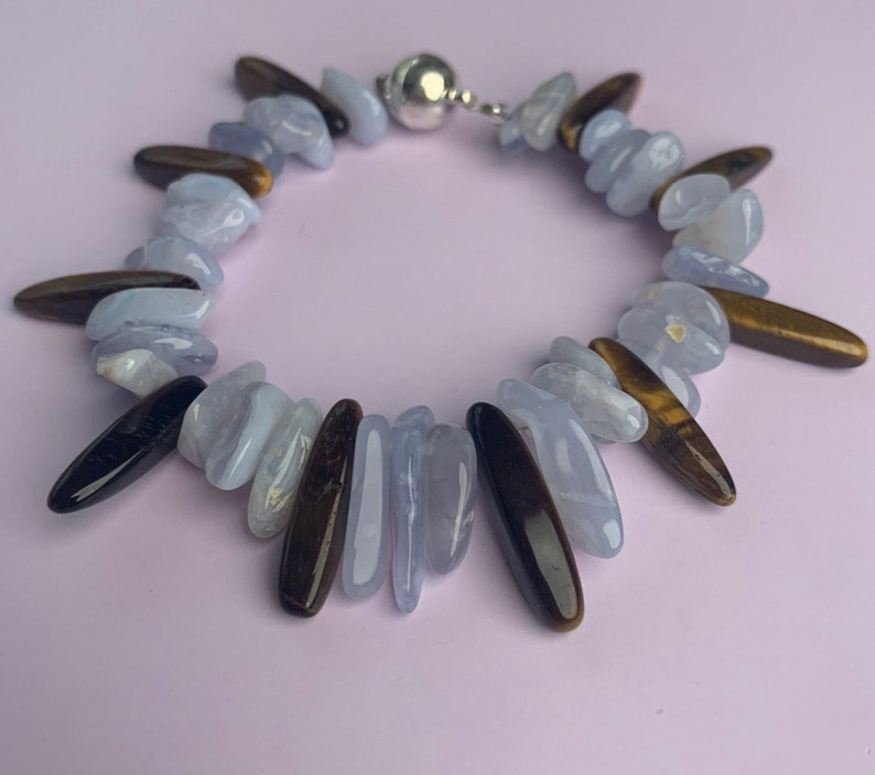 Blue Lace Agate Tigers Eye Gemstone Magnetic Bracelet