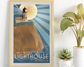 Split Rock Lighthouse Retro Style Poster