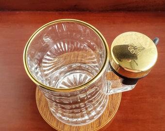 Funny Vintage Glass Beer Mug with Metal Bicycle Bell Heavy Glass Beer Mug Rustic Vintage Glass Beer Mug