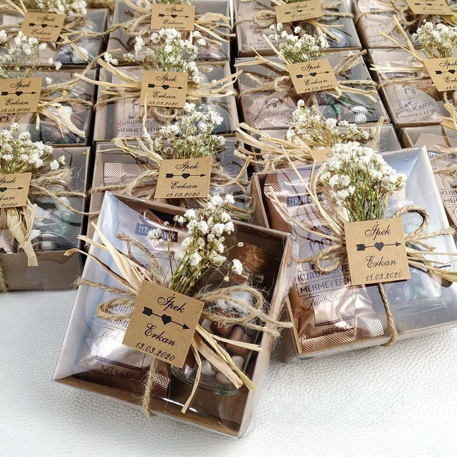 Affordable Edible Wedding Favors - Turkish Coffee and Pebble Chocolate Mini Favor Box