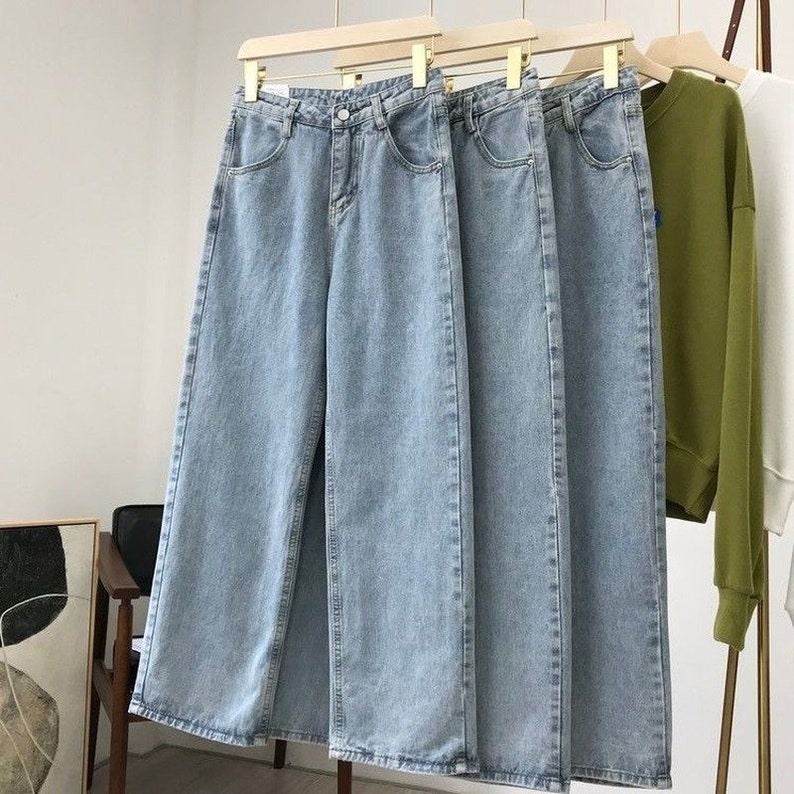 Light Blue Trousers  Wide Leg Pants  Vintage Pants  Women Straight Pants  High Waist Pants.