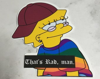 4.5x9 or 3.5x7 Simpsons Sticker Cool Kid Lisa Vinyl Vehicle Laptop Decal Sticker Many Colors