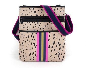 Neoprene Messenger Bag: Taupe Spots w Pink Stripe
