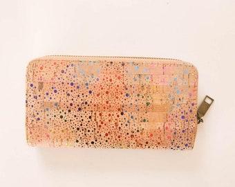 Colorful Women Wallet Cork Bark Handcrafted Organic Vegan Leather Printed Mini Dot