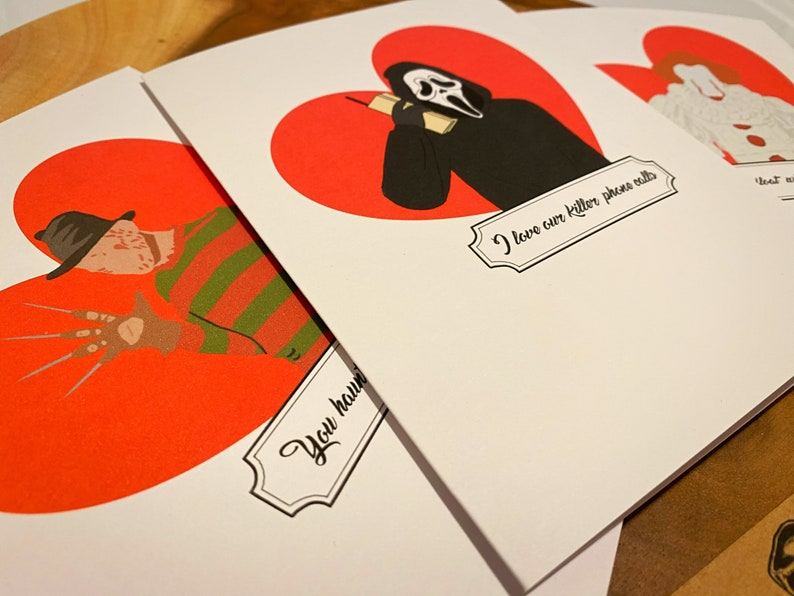Horror Movie Couple Couple Cards Horror movie Anniversary Cards Spooky Anniversary Goth relationship cards Scary Valentine/'s Day