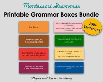 Montessori Grammar Box Bundle - All 8 Grammar Box Card Material - Parts of Speech, Printable PDF Download, Montessori Lower Elementary