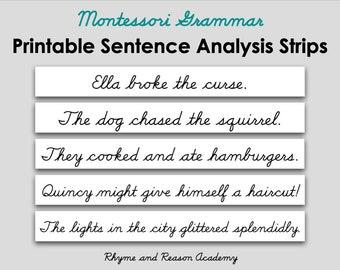 90 Montessori Sentence Analysis Strips- Printable Reading Analysis, Digital Download PDF, Montessori Grammar Material, Upper Elementary