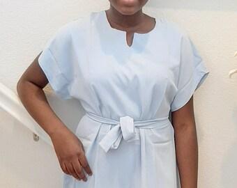 African plain shift dress in silk.