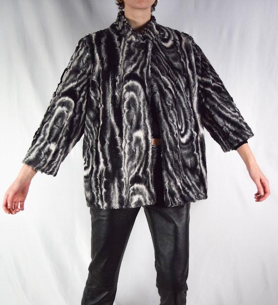 Marbled Faux Fur Coat