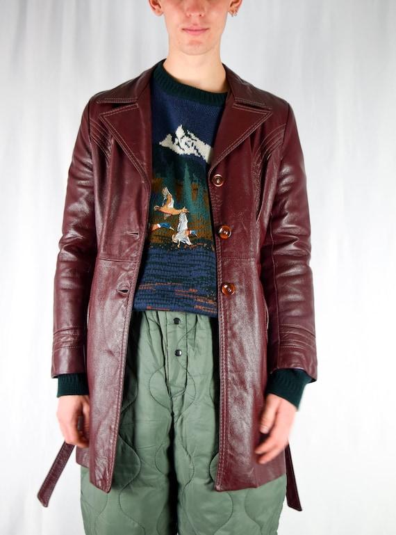 Burgundy Seam Trim Mid-length Leather Trench