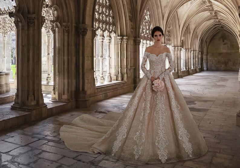 Luxury Bridal Gown Wedding Dress Champagne off Shoulder image 1