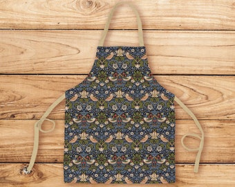 Vintage faded purple apron with William Morris print pockets