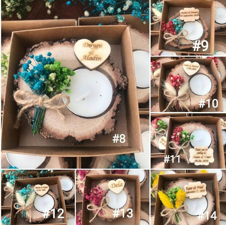 rustic tealight holder bridal shower favors Personalized Wedding shower favors Wood Favors personalized candle Bridesmaid gifts