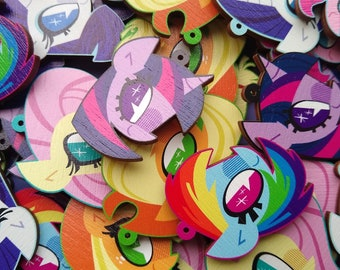 MLP Mane 6 Wooden Charms