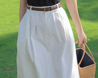 White Denim Midi Skirt, High Waist Denim Skirt, Boho Summer Skirt, 80s Midi Skirt, Skirt With Pocket, Elastic Midi Skirt, Long Cotton Skirt