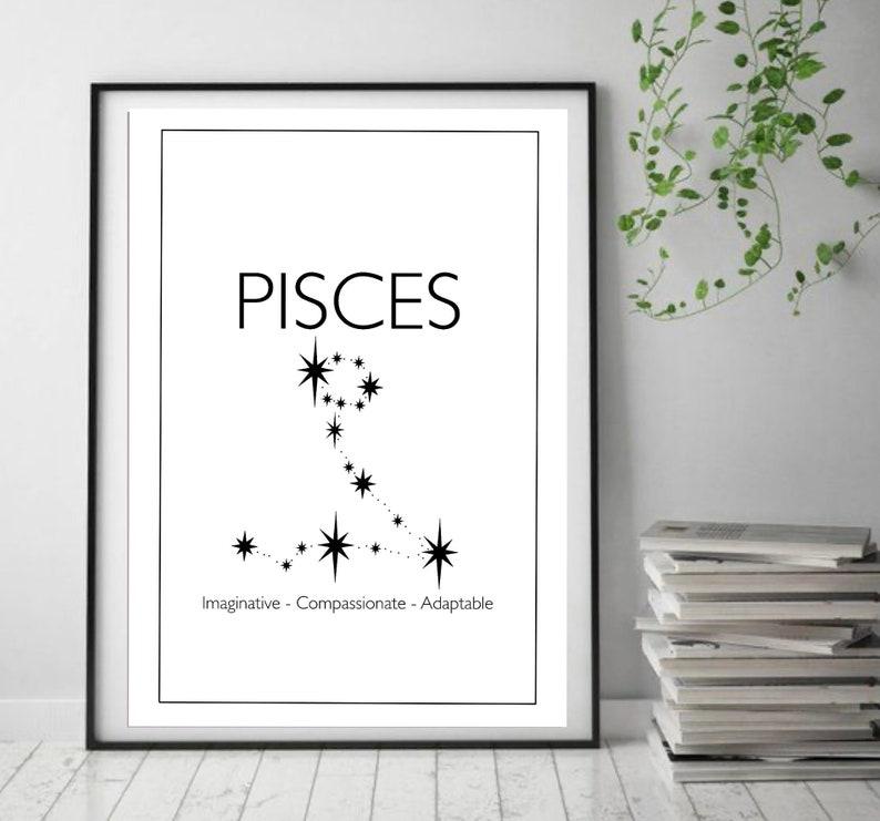 Pisces Constellation Wall Art Constellation Star Sign-  Astrology Prints Wall Art Pisces Print Star Sign Wall Art