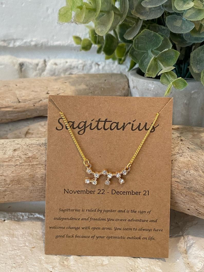 Zodiac Rhinestone Gold Necklace Part 1
