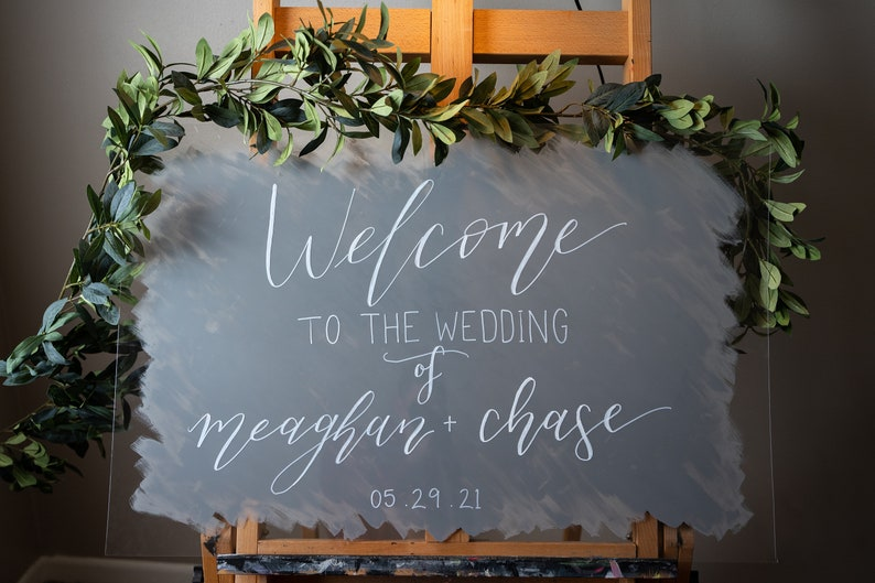"""Personalized Wedding Welcome Calligraphy Sign 24""""x36"""" inches"""