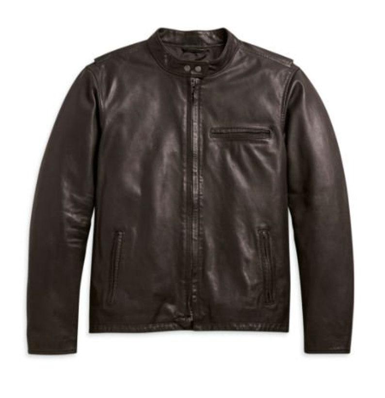 High quality Wholesale H-D Men/'s Cafe Racer Leather Jacket S-3XL