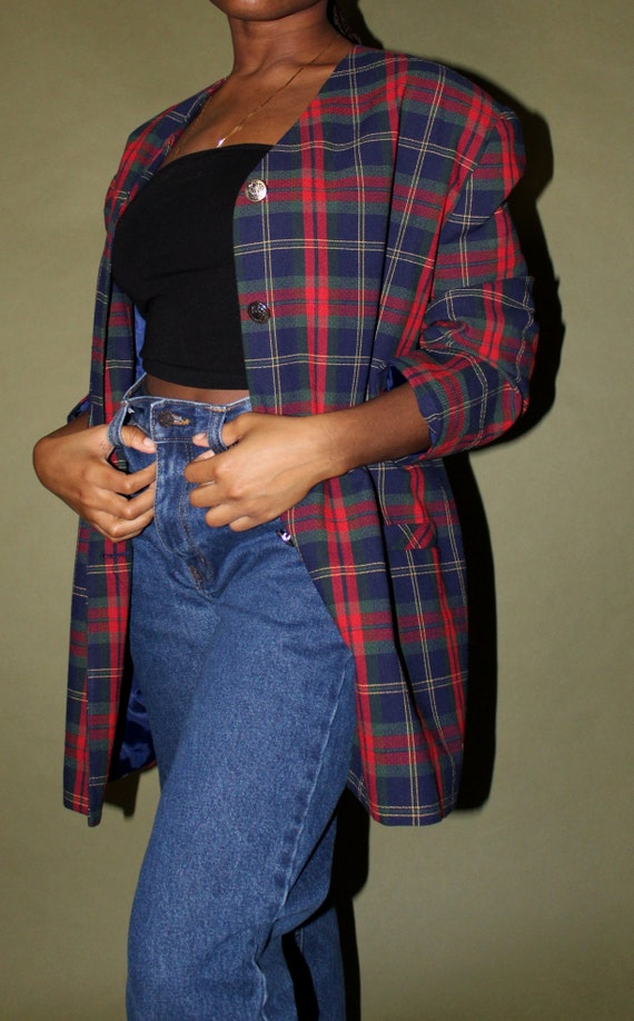 Red and Blue Plaid Oversized Blazer // Vintage Ove