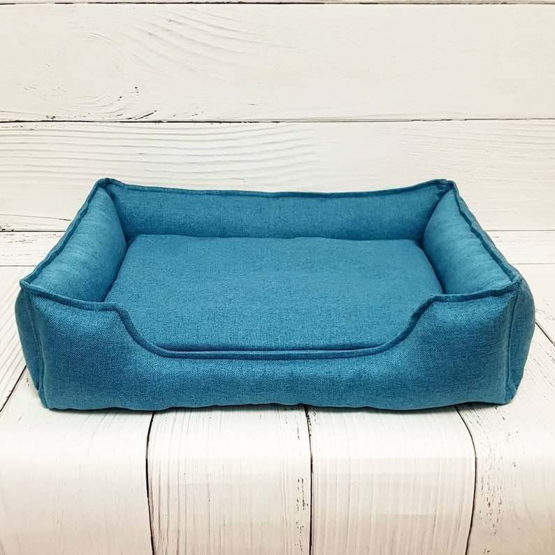 washable dog bed for small and big dogs Gift for dog owner xxs-xxl size mat for dog Blue pet bed with removable cover dog furniture