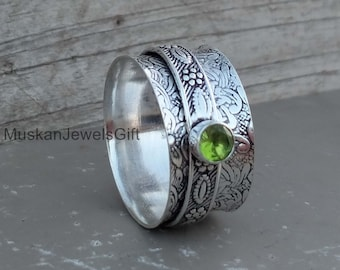 Best Gift Peridot Spinner Ring AAA+Natural Peridot Sterling Silver Unique Design Handmade Silver Spinner Ring Valentine Gift