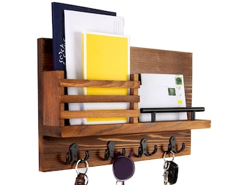 Key Holder and Mail Shelf - Unique Hanging Wall Organizer for Entryway, Hallway, Office - Decorative Storage - Industrial-Quality Design