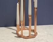 Copper candelabra octagonal candlestick holder centre piece Handcrafted vintage