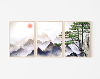 Japanese Landscape Painting of Pine Trees, Distant Mountains, Print Clouds and Sunrise. Japanese Painting, Japan print, Japanese wall decor