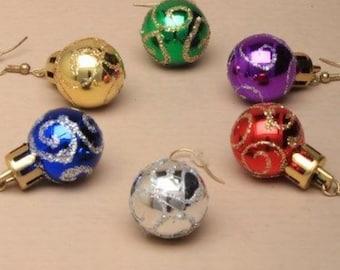 Christmas Bauble Earrings Gold Silver Glitter Blue Purple Red Green Dangle Drop Festive