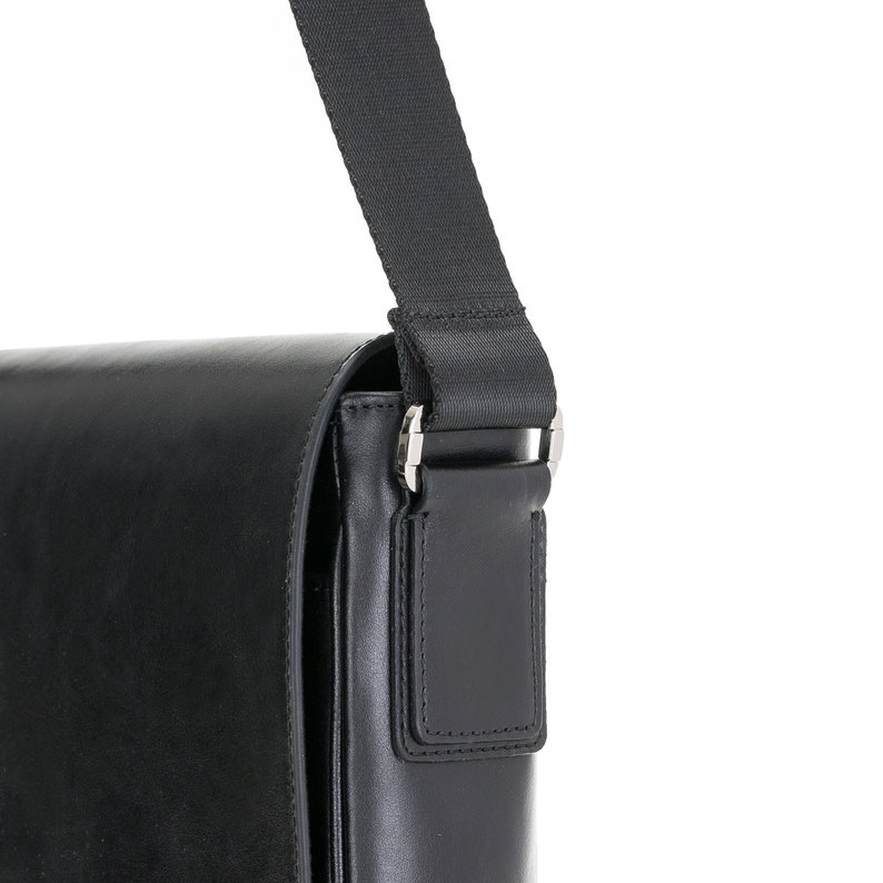 Handmade Genuine Real Leather Mens Calisto Briefcase Laptop Business Travel Messenger Durable Bag with Shoulder Strap Rustic Black