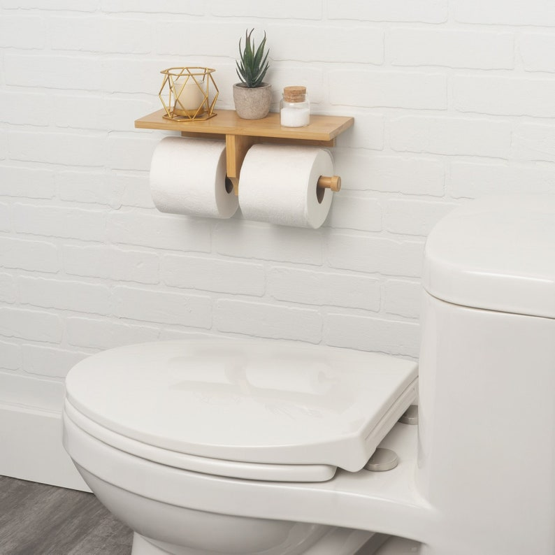 Bamboo Double Roll Toilet Paper Holder with Shelf for Plants image 0