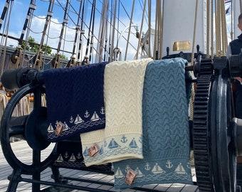Nautical Wool Throw, 100% British Wool