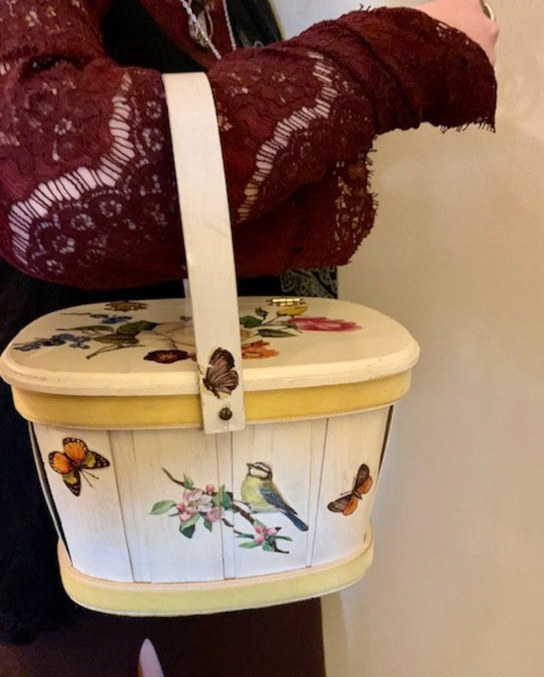 Retro Boho Decor Vintage Decoupage Purse Sewing Box Storage Wood Floral Butterflies Swing Handle Picnic Basket Handmade Cottagecore