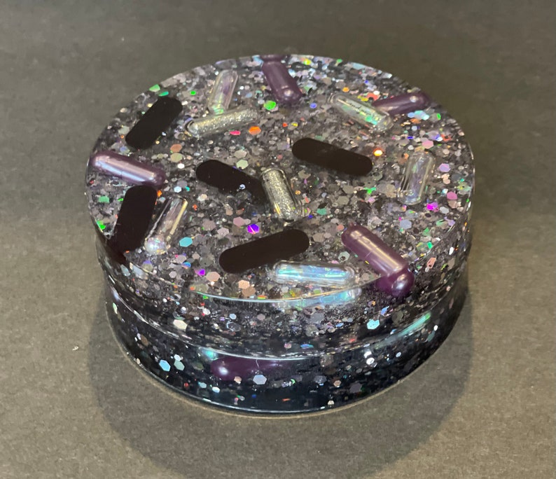 Midnight Unicorn Resin Pill and Glitter Coaster set of 2