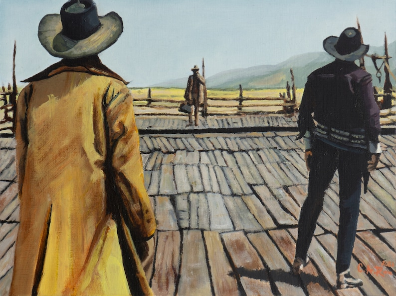 Once Upon a Time in the West  9 x 12 inches Original Oil image 0