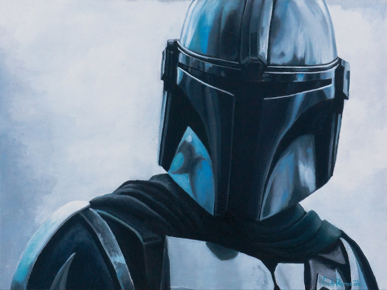 The Mandalorian  18 x 24 Inches Oil Painting On Canvas Board image 0