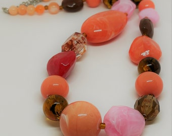 Large Orange Bead Lucite and Plastic Necklace for Women, Vintage Bead Bright Orange and Amber, Gifts for Bead Lovers Chunky Necklace