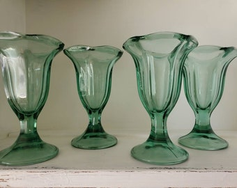 Green and Clear Glass Sundae Dish Pair
